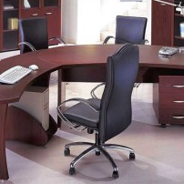 exotic-office-design-with-teak-wooden-furniture-such-as-modular-curved-desk-and-black-leather-swivel-chair